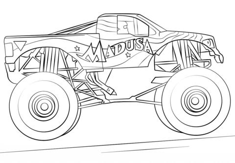 monster truck malvorlagen ausmalbild madusa monster truck