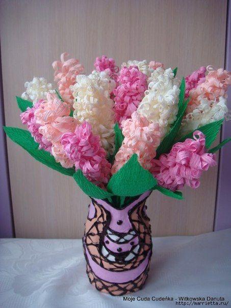 Ты можешь сделать гиацинт из гофрированной бумаги - Цветы из ткани и бумаги