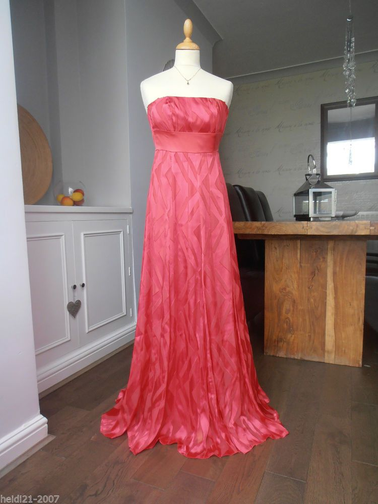 MONSOON CORAL ACID ETCHED HALTER NECK LONG MAXI EVENING DRESS SIZE 8 ...
