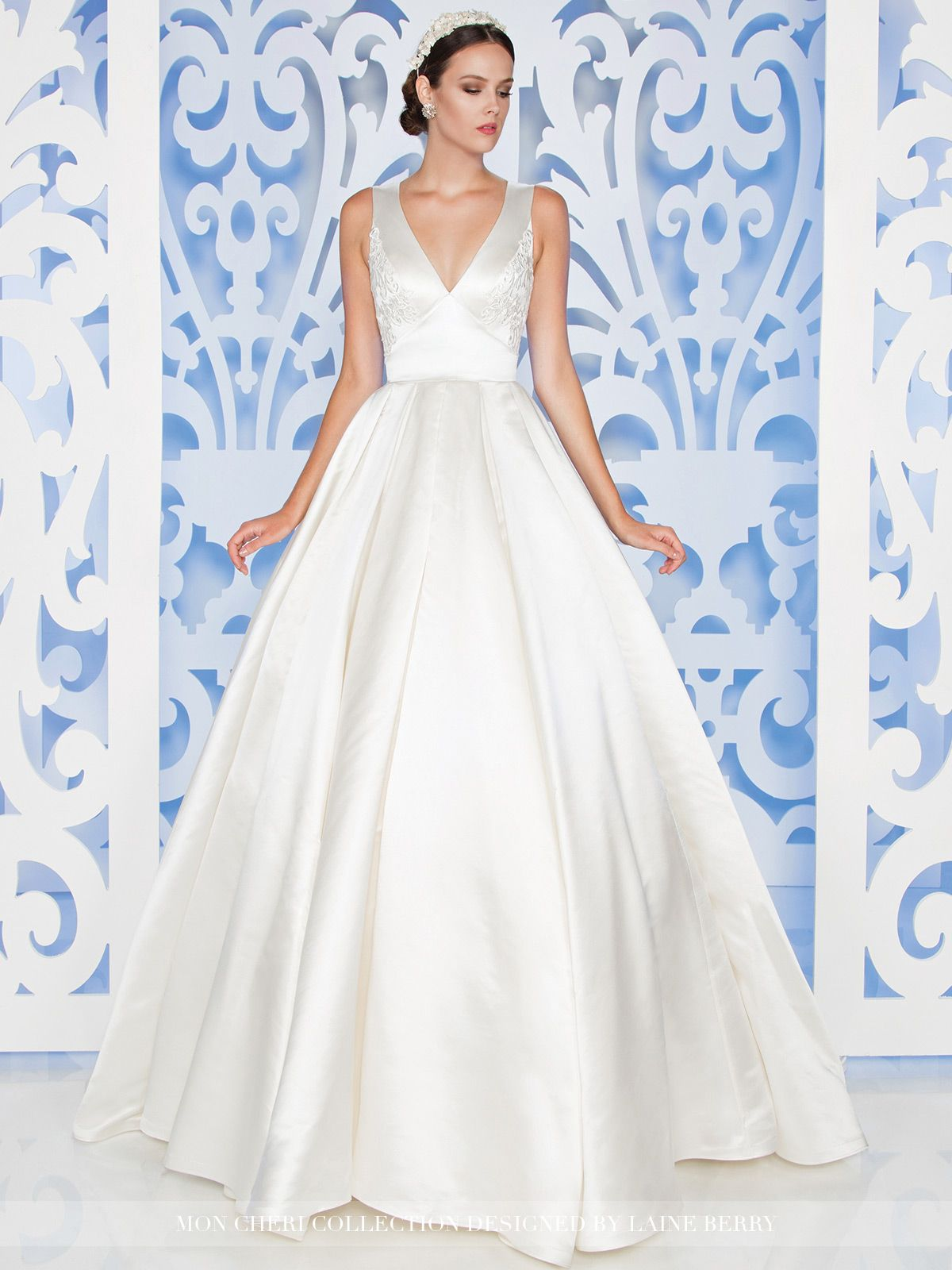 d1446bceb7a Sleeveless silk satin ball gown with deep front and back V-necklines