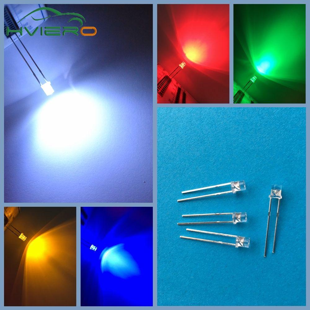 500 Pcs Led 3mm Ultra Lumineux Flat Top Chef Blanc Rouge Bleu Orange Uv Rose Diode Ampoule Large Angle Emettant De La Lumiere Lampe Diodes Led Lamp Bulb Diode