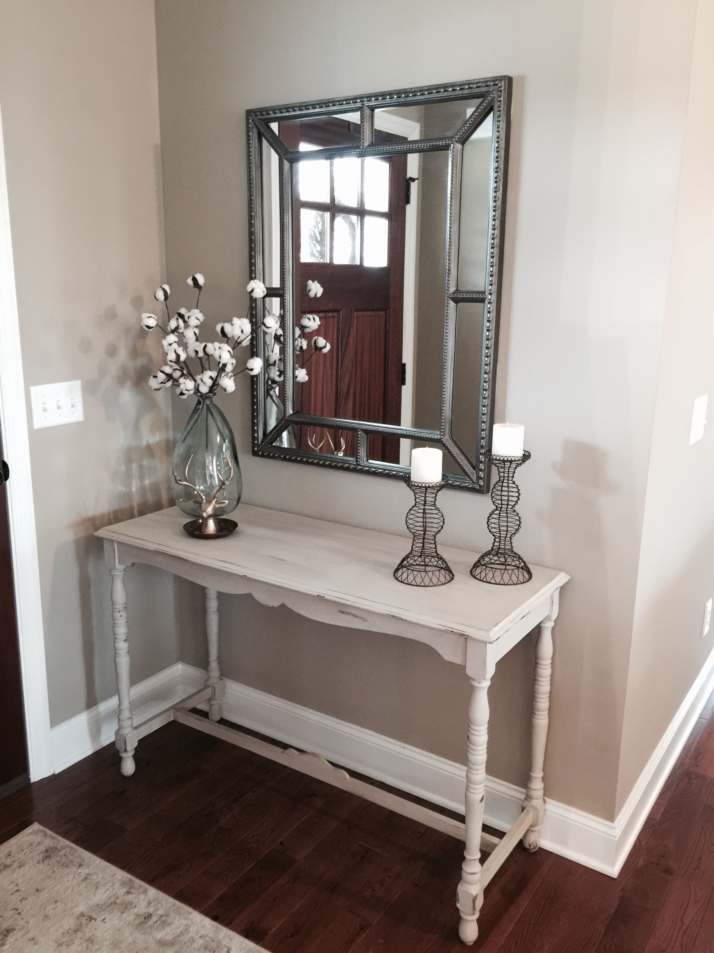Love the long mirror over the long console entries hallways restored console table decor from world market and mirror from geotapseo Gallery