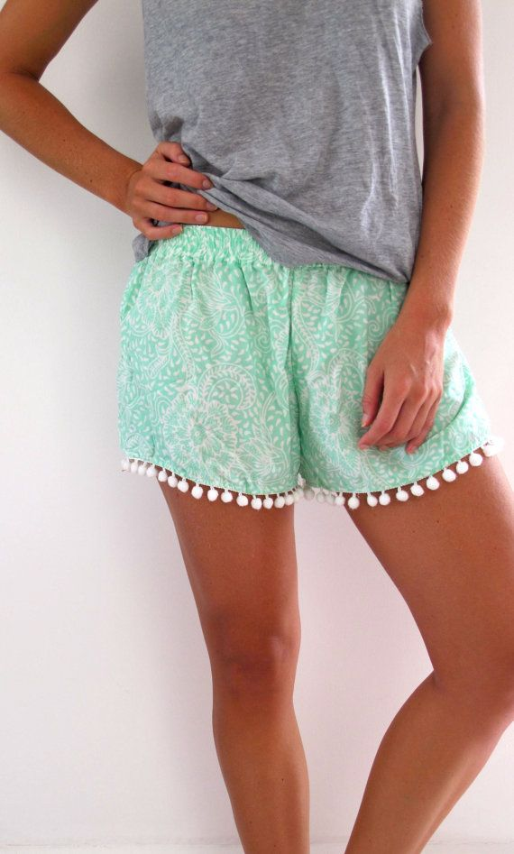 Pom Pom Shorts - Mint Green Pattern with Large White Pom Pom Trim ...