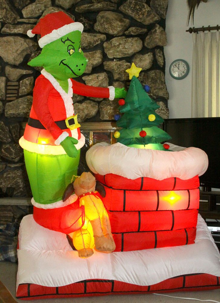 6 Gemmy Animated Airblown Grinch Pulling Xmas Tree Chimney