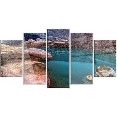 DesignArt 'Beautiful Turquoise Melt Pool' 5 Piece Photographic Print on Canvas Set