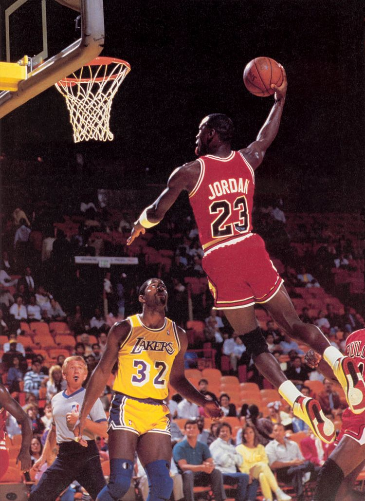 Michael Jordan Dunking Over Magic Johnson