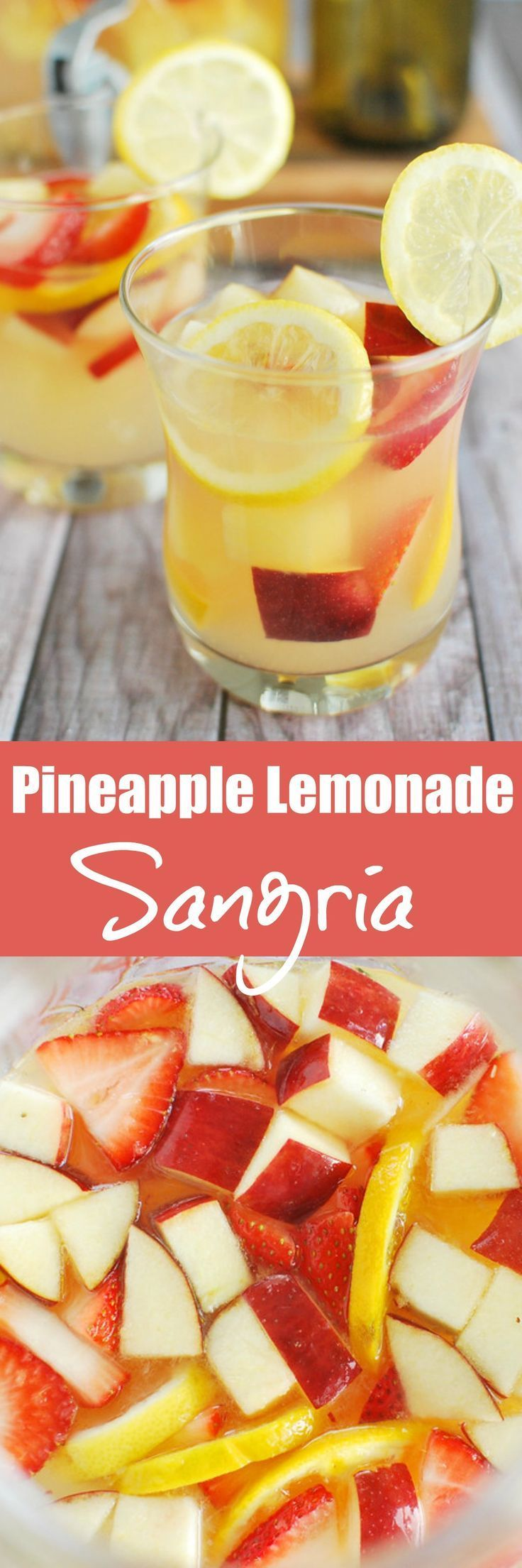 Pineapple Lemonade Sangria - the ultimate summer drink recipe! White wine, lemonade, and rum with tons of fresh fruit mixed in. It can be made ahead so it is perfect if you are prepping for a party! #pineapplelemonade