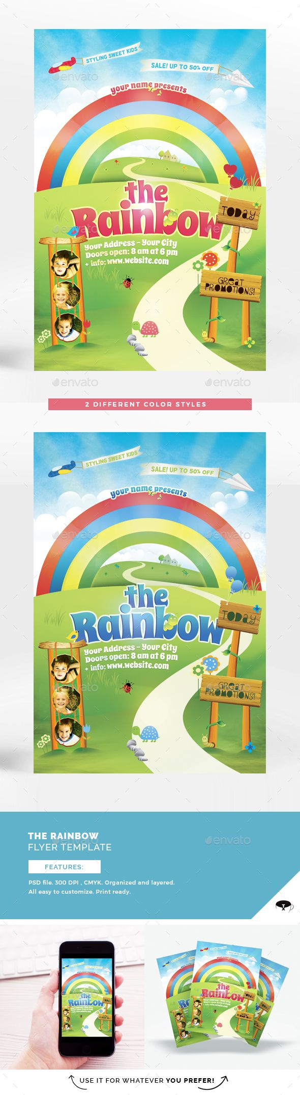 The Rainbow Flyer Template Flyer Template Flyer Kids Invitations