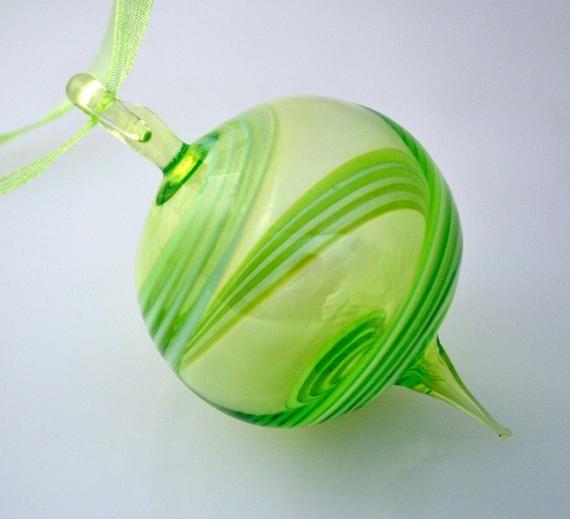 Hand Blown Ornament, Chartreuse Green & Mint Round Ornament, Art Glass Ornament, Glass Christmas Ornament, Unique Glass Ornament