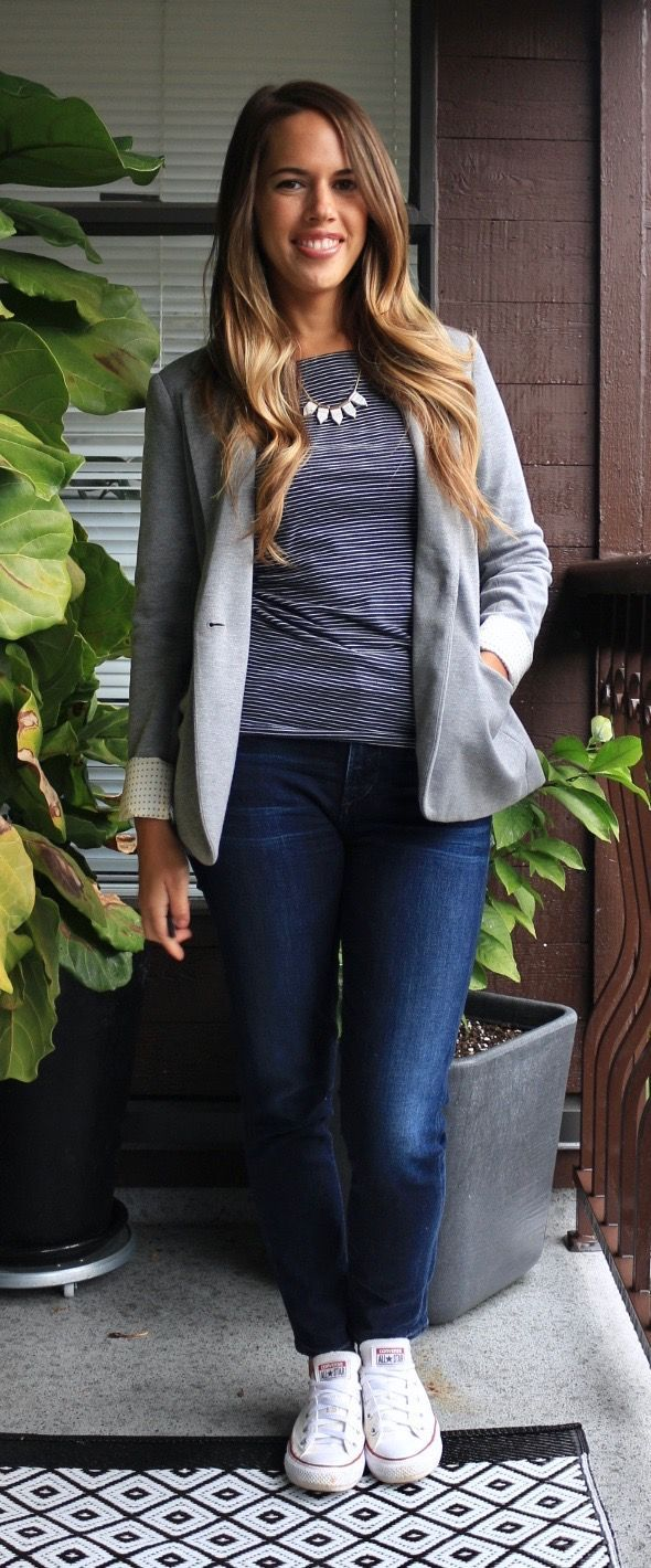 jules in flats  jeans  a blazer for work fall workwear