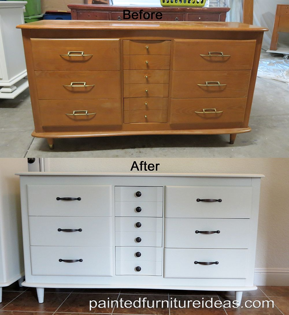 Mid Century Dresser Painted White With New Hardware