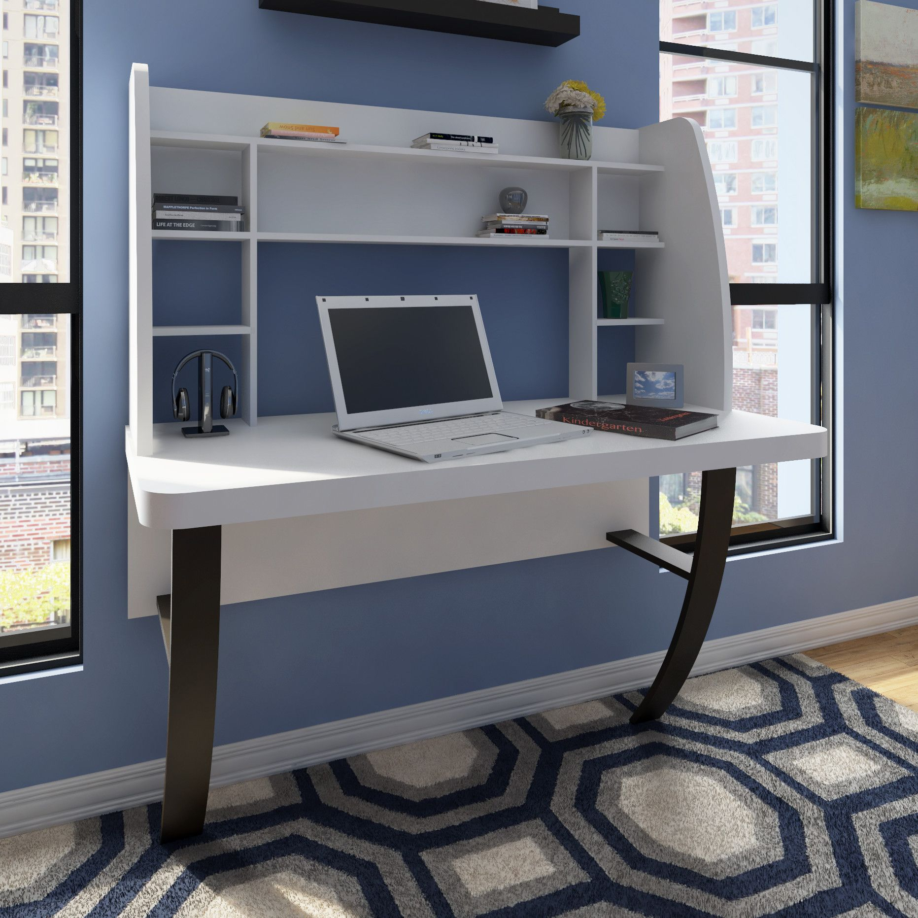 Nikki Floating Desk With Hutch