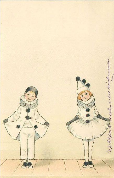 I Love These Sweet Illustrations Pierrot And Pierettte Comedia