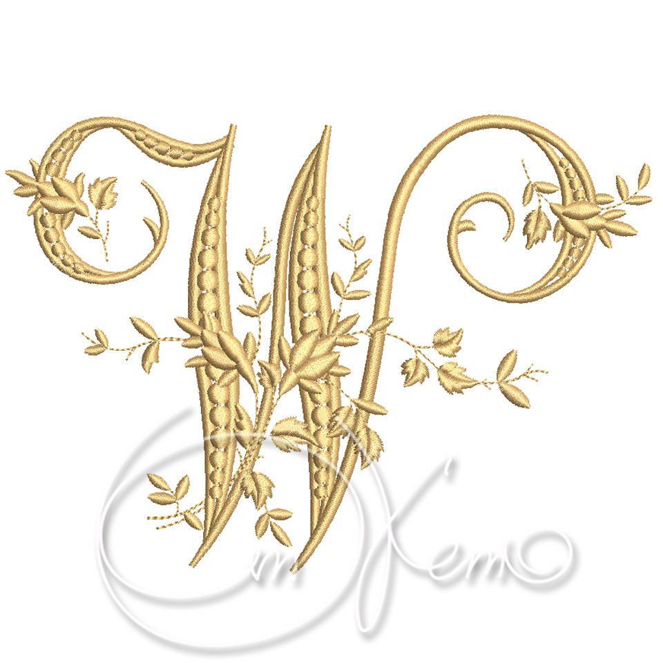 Machine embroidery design victorian letter w