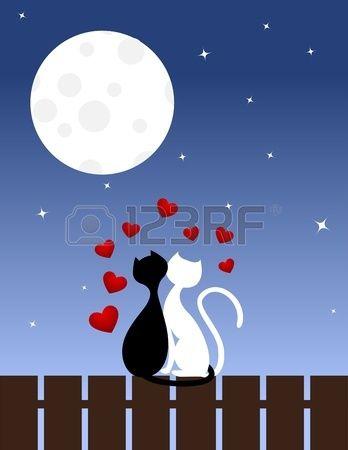 Zwei verliebte Katzen sitzen auf einem Zaun Vektor Illustration  Lizenzfreie Bilder