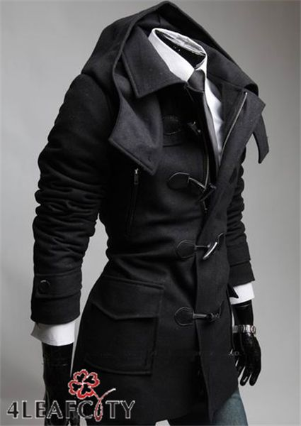 Images of Peacoat With Hood Mens - Reikian