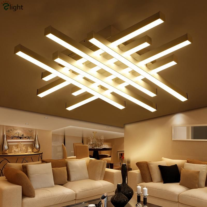 Modern Geometric Metal Dimmable Led Ceiling Lights Lustre Acrylic