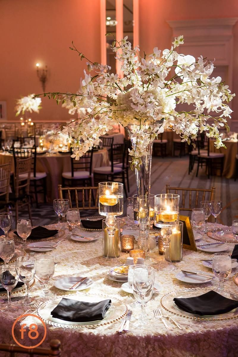 Wedding decoration ideas gold  Katherine  Michael January Wedding  White u Gold Centerpiece