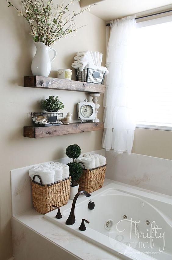 DIY Floating Shelves and Bathroom Update   Pinterest   Badezimmer ...