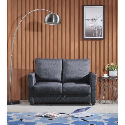 Container Contemporary Fabric Loveseat Upholstery: Gray