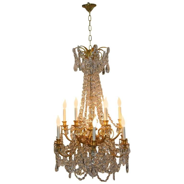 French Empire Gilded Bronze Crystal 12 Arm Chandelier Light Fixture Chandelier Chandelier Lighting Chandelier Pendant Lights