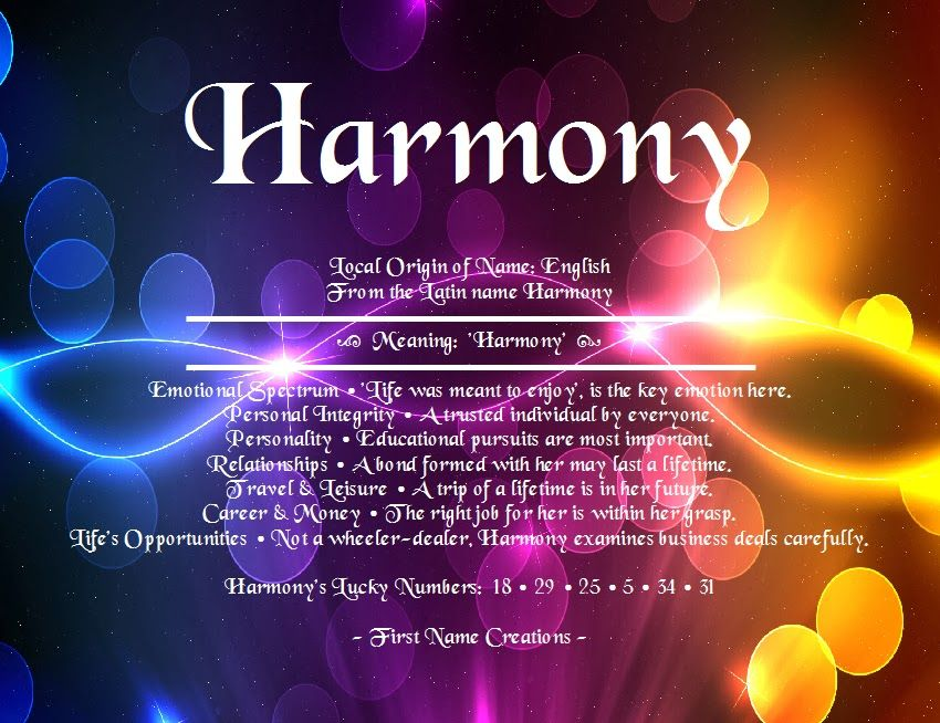 Harmony Name Meaning - First Name Creations   Names with ...