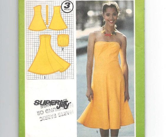 Vintage Strapless Summer Dress Pattern: Size 12, Bust 34 ...