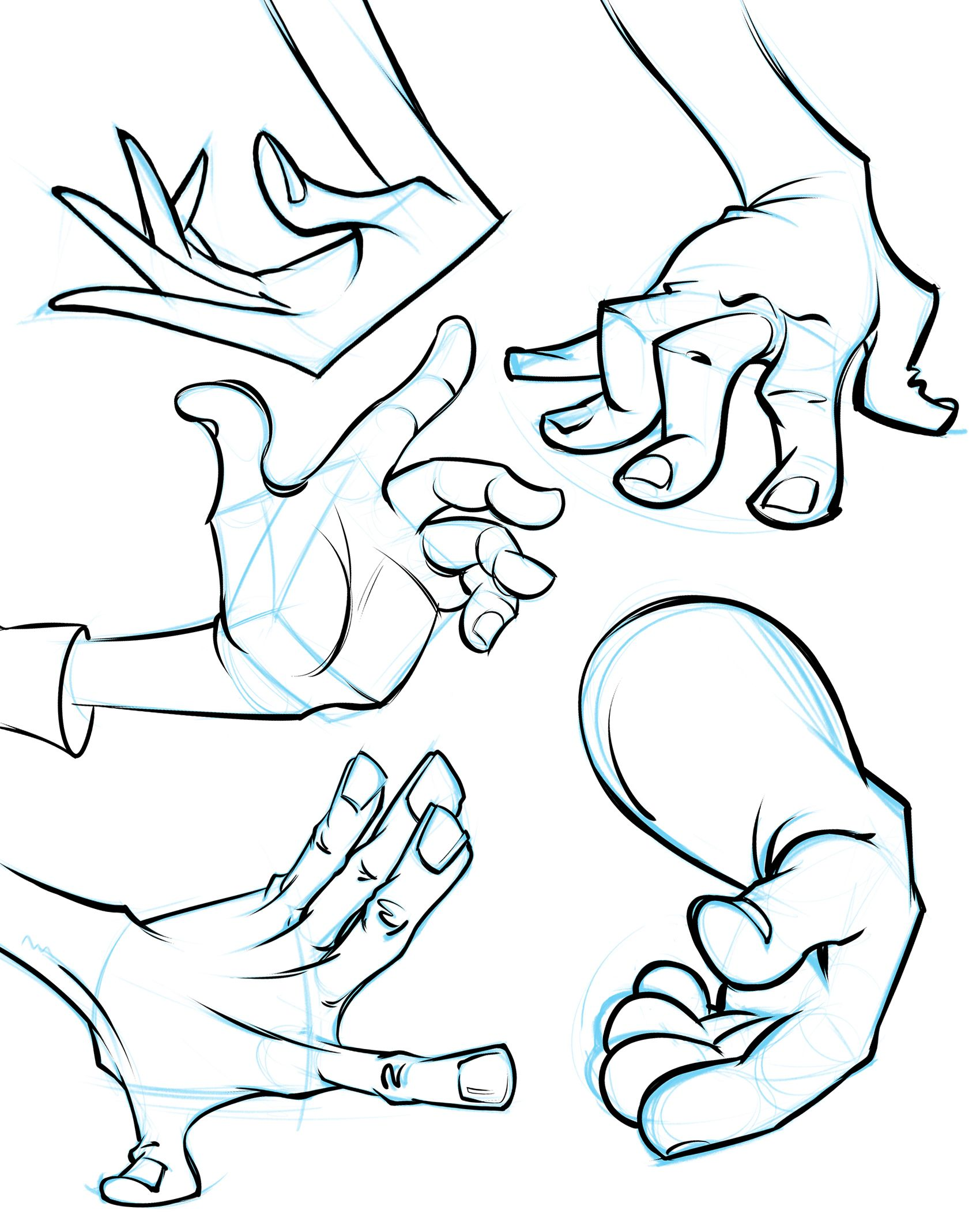 A collection of cartoon hands from my cartoon hand demo learn how to draw hands like this at proko com 217