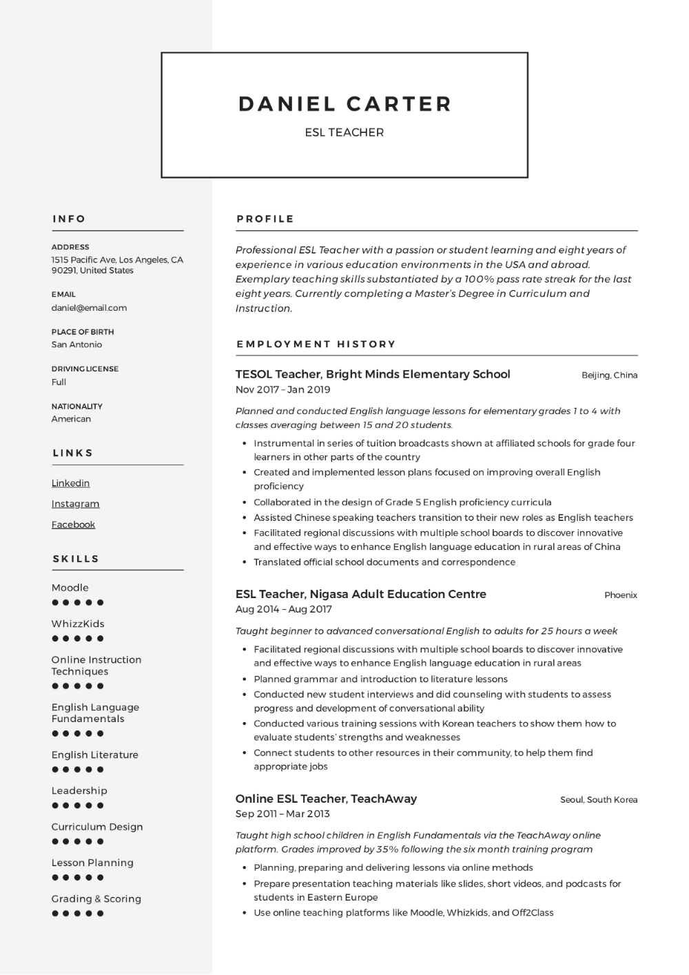 esl teacher resume sample & writing guide resumeviking for accountant pdf format tamil teachers best cv