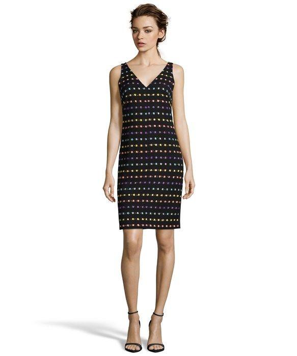 black and violet tweed 'Minetta' v-neck dress