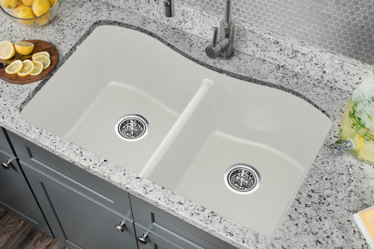 33 L X 20 W Double Basin Undermount Kitchen Sink In 2021 Undermount Kitchen Sinks Porcelain Kitchen Sink Double Kitchen Sink