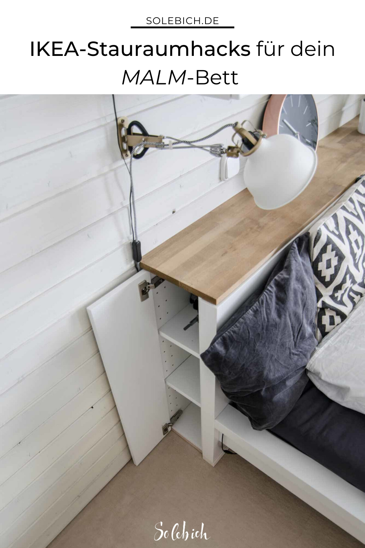 6 Ikea Stauraum Hacks Fur Mehr Stauraum Im Schlafzimmer Fur Das Malm Bett In 2020 Malm Bett Ikea Lagerung Ikea Ideen