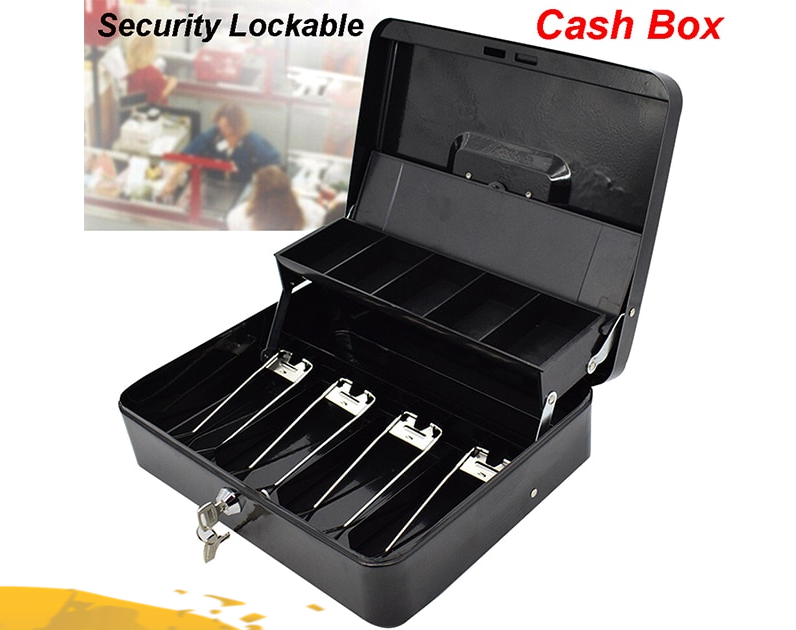 Black Metal Cash Lock Box Tiered Money Safe Deposit