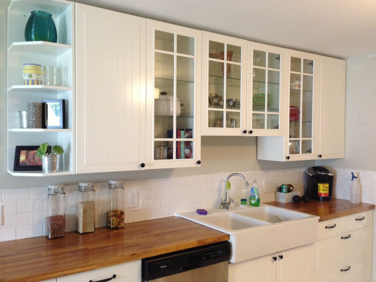 Our kitchen: Ikea Stat cabinets, butcher block counters, Ikea farm ...