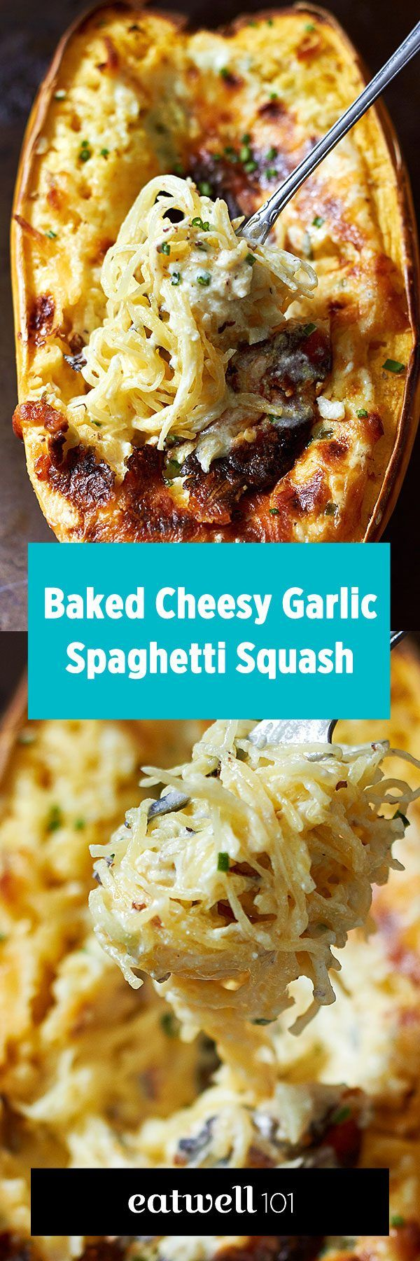 Baked Four Cheese Garlic Spaghetti Squash Spaghetti Squash Recipe – - Stuffed with a creamy garlic and 4-cheese sauce – LOW CARB and so COMFORTING! - by