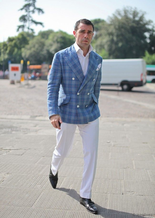 Double-breasted, wide lapel plaid jacket, white trousers, black ...