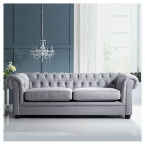 Buy Chesterfield Linen Medium Sofa, Silver From Our Fabric Sofas Range    Tesco.com
