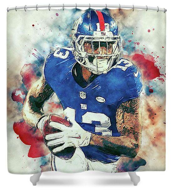 Odell Beckham Jr Obj New York Giants Shower Curtain Odell Beckham Jr Football Artwork Beckham Jr