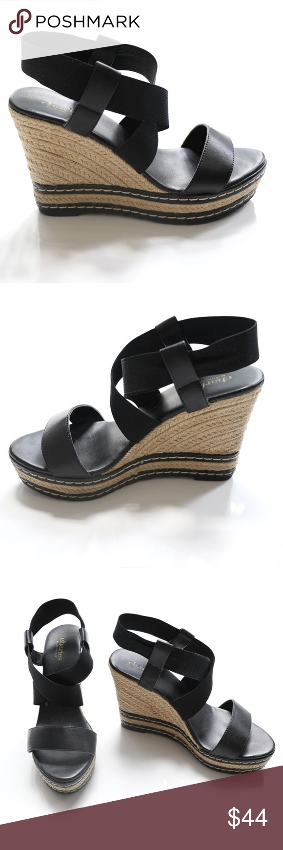 8396ec9fa6f3 Charles by Charles David Black Espadrille Wedges The sandals features  elastic stretch vamp and ankle straps for a comfortable fit.