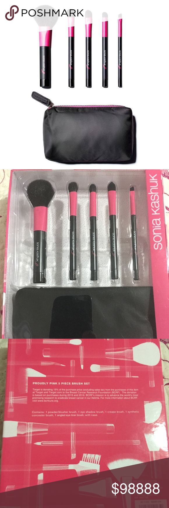 Sonia Kashuk Proudly Pink Brush Set 6pc NWT Pink brush