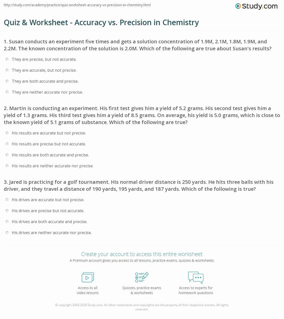 Accuracy And Precision Worksheet Answers Beautiful Quiz