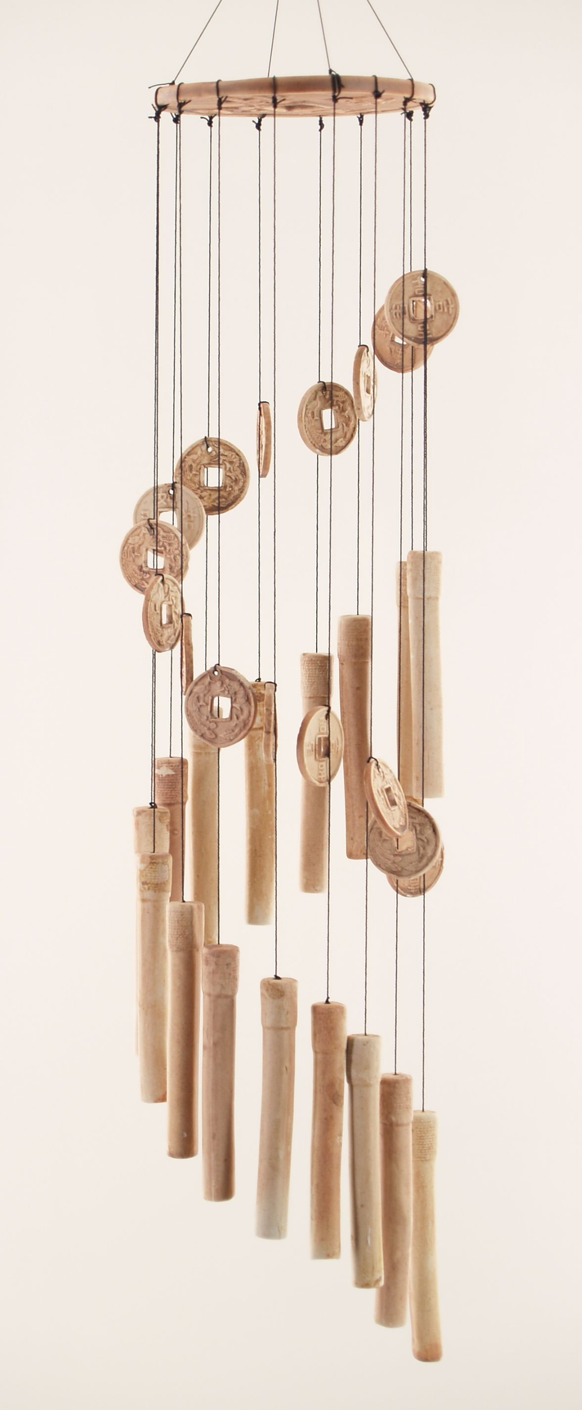 pictures of wind chimes | Bamboo & Coins Clay Wind Chime