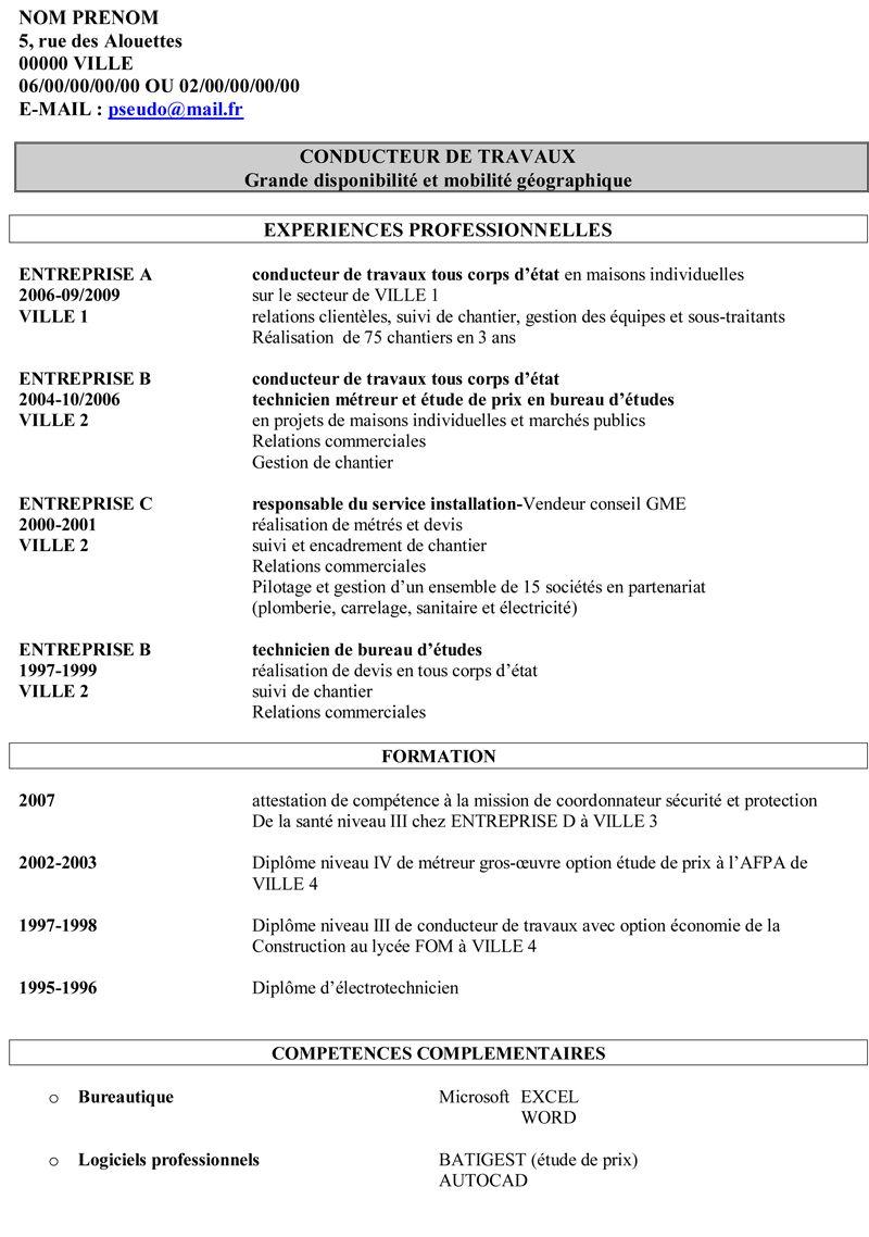 Exemple De Cv Conducteur De Travaux Exemple De Lettre De Motivation Conducteur De Travaux Exemple Cv