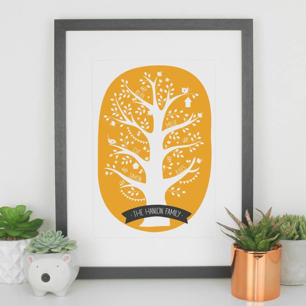 Personalised Family Tree Print Gift   Paper Joy Art Prints ...