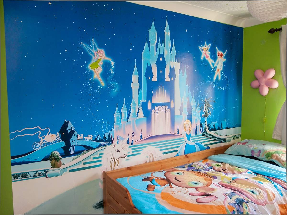 Disney castle for Castle mural kids room