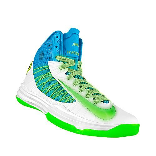 pretty nice 60a83 9a507 Neon green, blue and white Nike bball shoe. Love the colors