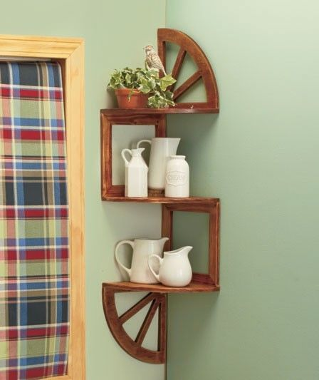 3 Tier Western Wagon Wheel Wood Corner Zig Zag Country Wall Shelf Kitchen Decor Country Rustic Wall Shelves Corner Wall Shelves Wall Shelf Decor