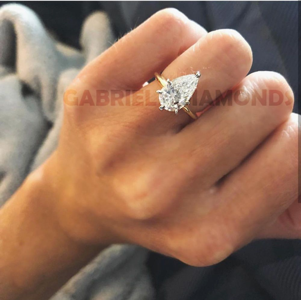 4911ed3dad64e 2 Ct Pear Solitaire Diamond Engagement Wedding Promise Ring 14k ...