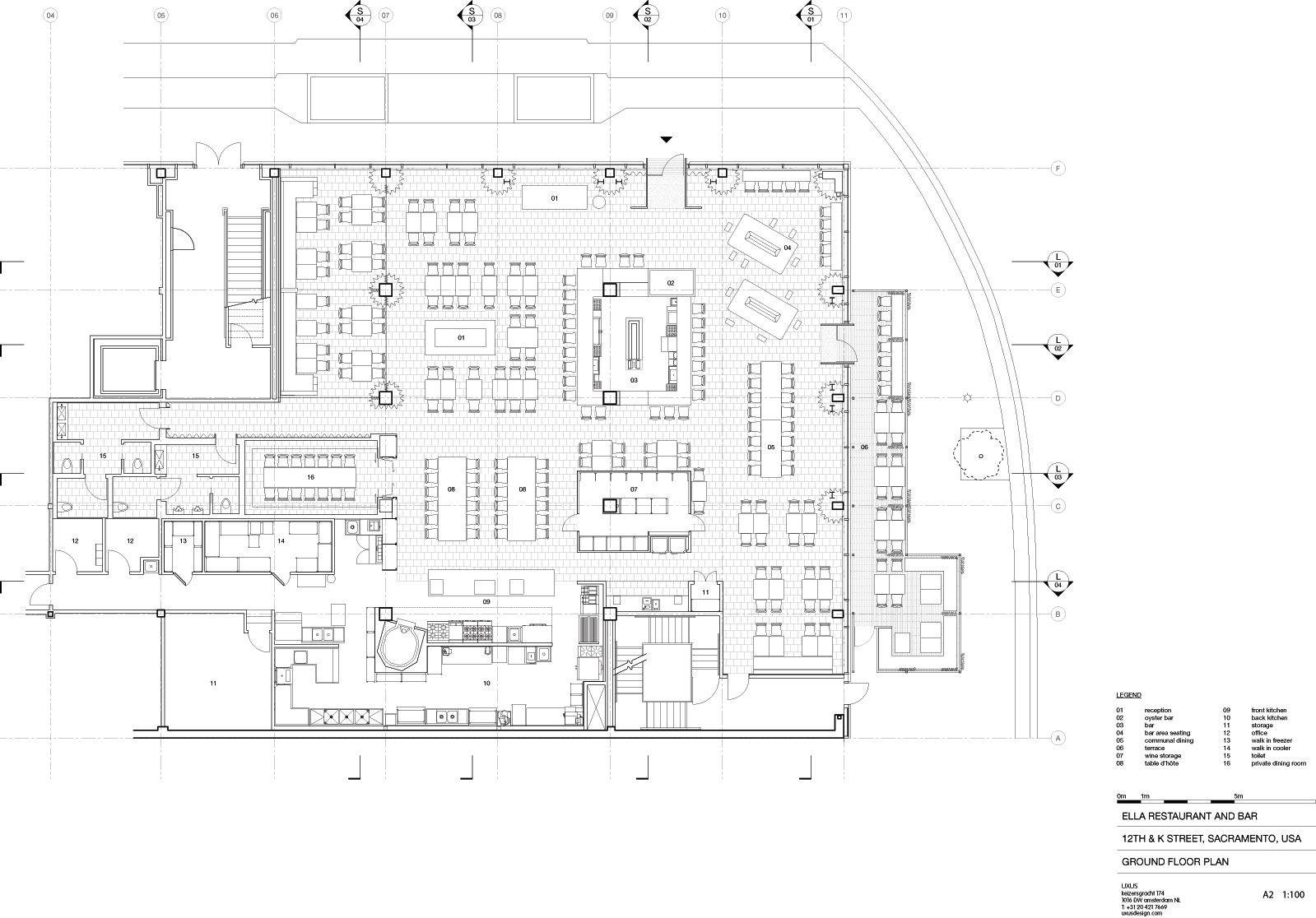 A floor plan ella 39 s dining 03 bar area 04 lounge 07 for Winery floor plans by architects