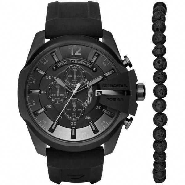 5abbfd6c4134 Diesel Men s Chronograph Chief Series Black Silicone Strap Watch and...  ( 250)